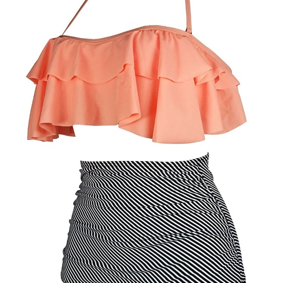 bb656007616f0 Cocoship Swim | Retro Boho Flounce Falbala High Waist Bikini | Poshmark